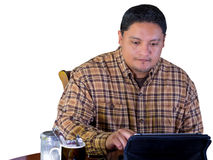 Latino Man Using Wireless Device Royalty Free Stock Photo