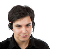 Latino man working as call service representative Royalty Free Stock Photo