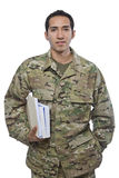 Latino Military Man With School Books Royalty Free Stock Photos