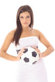 Latino model with soccer ball Royalty Free Stock Image