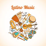 Latino musical card. Salsa musical card. Invitation of Latino musical instruments. Latino background can be used as invitation card for wedding, birthday and stock illustration