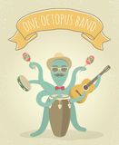 Latino Octopus Play Music. Cartoon illustration of latino octopus playing congo, acoustic guitar, tambourine and maracas. Animal character for music poster Royalty Free Stock Photos