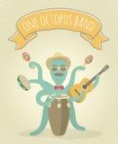 Latino Octopus Play Music Royalty Free Stock Photos
