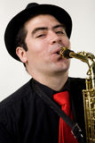 Latino Saxophone Player Isolated on White Stock Photos