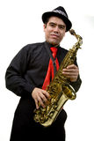 Latino Saxophone Player Isolated on White Royalty Free Stock Image