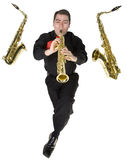 Latino Saxophone Player Isolated on White Royalty Free Stock Photo