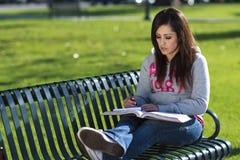 Latino Woman student studying Stock Photography