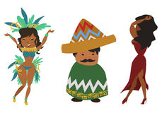 Latinos. Set of different latin american characters Royalty Free Stock Photo