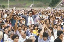 Latinos Taking Pledge of Allegiance, Los Angeles, California Stock Photos