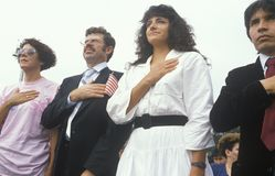 Latinos Taking Pledge of Allegiance, Los Angeles, California Royalty Free Stock Image