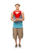 Latinovän med hjärtaförälskelseballongen Fotografering för Bildbyråer
