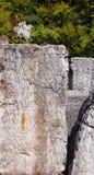 Latinsk inskrift på gravvalvplattan Royaltyfri Foto