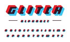 Latinskt alfabet för tekniskt felvektor Djärv kursiv stilsort för hastighetsflyttning Appliquebokstäver, färgoffseteffekt futuris royaltyfri illustrationer