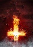 Latinskt kors som brister med flammor stock illustrationer