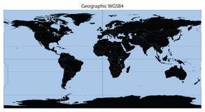 Latitude/longitude do mapa de mundo fotografia de stock royalty free