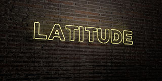 LATITUDE -Realistic Neon Sign on Brick Wall background - 3D rendered royalty free stock image. Can be used for online banner ads and direct mailers royalty free illustration