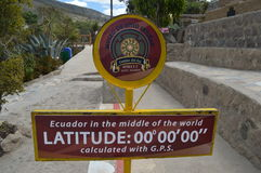 Latitude Zero Sign. A signpost designates the zero latitude line or equator in Ecuador Royalty Free Stock Photo
