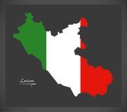 Latium map with Italian national flag illustration Stock Photography