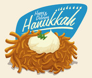 Latke with Sour Cream and Hanukkah Message, Vector Illustration. Delicious latke with sour cream and sprig of parsley