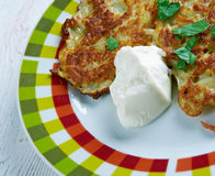 Latkes del pancake di patata Fotografia Stock
