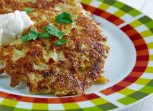 Latkes del pancake di patata Fotografie Stock Libere da Diritti