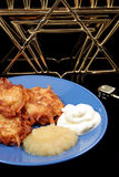 Latkes & Menorah On Black Royalty Free Stock Photos