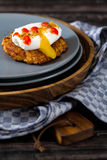 Latkes with Poached Egg Royalty Free Stock Photography