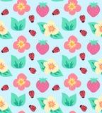 Lato śliczny truskawkowy kolorowy wzór z kwiatami i biedronką Obraz Royalty Free