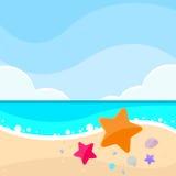 Lato żołnierza piechoty morskiej plaży piaska Dennej gwiazdy rozgwiazdy karta Zdjęcie Royalty Free