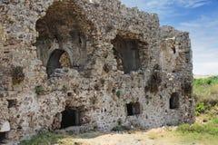 Lato antico parete limite La Turchia Rovine della città antica immagine stock