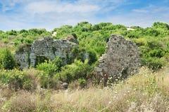 Lato antico parete limite La Turchia Rovine della città antica immagini stock libere da diritti