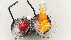 Lato arbuz i soku pomarańczowego orzeźwienie Zdjęcie Stock