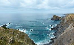 Lato Atlantyckiego oceanu skalista linia brzegowa & x28; Algarve, Portugal& x29; Obraz Royalty Free
