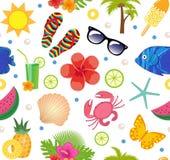 Lato bezszwowy wzór Jaskrawego lata nieskończony tło Wyrzucać na brzeg, być na wakacjach, dennego tematu wielostrzałowa tekstura  Fotografia Stock