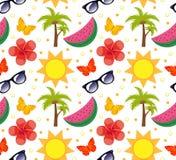 Lato bezszwowy wzór Jaskrawego lata nieskończony tło Wyrzucać na brzeg, być na wakacjach, dennego tematu wielostrzałowa tekstura  Obrazy Stock