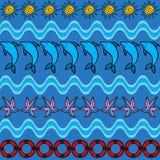 Lato bezszwowy wzór z delfinem, słońcem, rozgwiazdą i życia preserver, royalty ilustracja