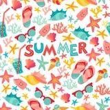 Lato bezszwowy wzór z lody, suglases, koktajl, rozgwiazda, koral, trzepnięcie klapy sandały Obraz Royalty Free