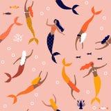 Lato bezszwowy wzór z syrenką pod morzem - wektorowa ilustracja ilustracji