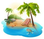 Lato bryczki spoczynkowy hol pod drzewkiem palmowym na tropikalnej wyspie ilustracja wektor