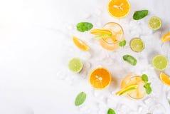 Lato cytrusa poncz z pomarańczami i wapnem Zdjęcie Stock