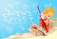 Lato czas, geometryczna poligonalna ilustracja Obrazy Stock