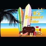 Lato czas z surfboard i materiału ilustracją cztery zdjęcia royalty free