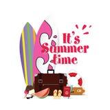 Lato czas z surfboard i materiału ilustracją dwa zdjęcia stock