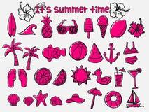 Lato czasu doodle ikony set Zdjęcie Royalty Free