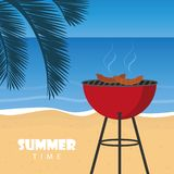 Lato czasu grill na pla?y z palmowym li?ciem ilustracji
