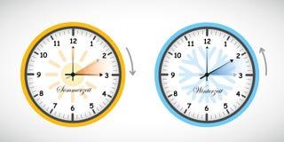 Lato czasu i zima czasu zegaru światła dziennego oszczędzanie ilustracja wektor