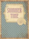 Lato czasu karta z skorupą Zdjęcia Royalty Free