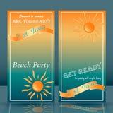 Lato czasu plaży przyjęcia ulotki błękit i kolor żółty ilustracja wektor