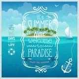 Lato czasu plakat z tropikalnym tłem Zdjęcia Stock