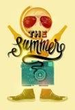 Lato czasu retro plakat Wektorowy projekt z rocznik rzeczami 10 eps Obraz Royalty Free